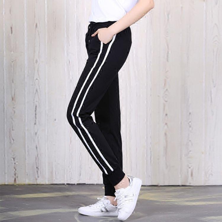 夏季新款2018大码运动裤女薄款百搭长裤韩版学生哈伦裤潮一件代发