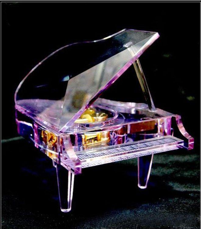 供应水晶钢琴音乐盒 水晶音乐盒 钢琴音乐盒