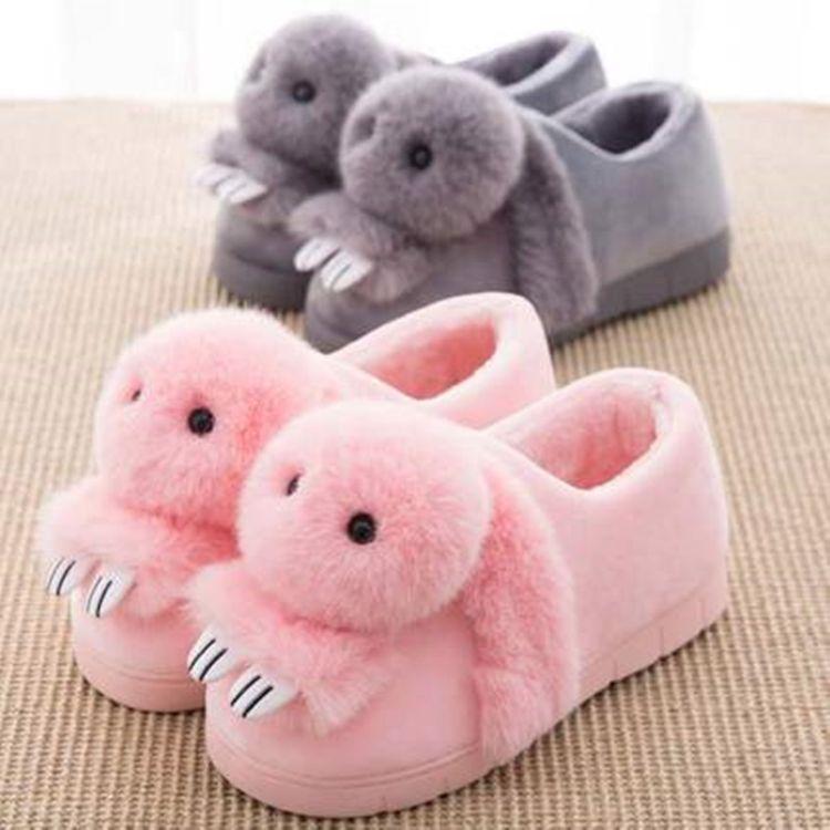 韩版卡通棉拖鞋女全包冬季地板家居保暖防滑月子可爱棉鞋亲子拖鞋