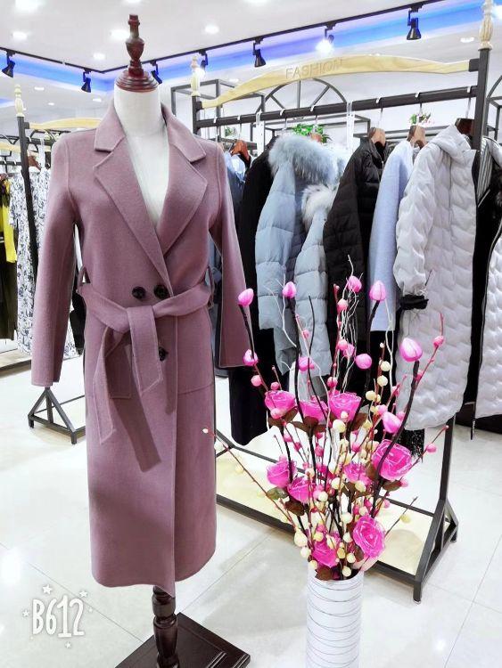 大码女装上新款2018年秋冬季女式阿尔巴卡羊驼毛呢外套双面呢大衣