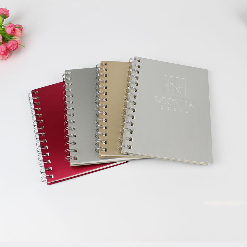 笔记本 纯铝合金迷你线圈多页夹日志本 纯铝制封面道林纸记事本