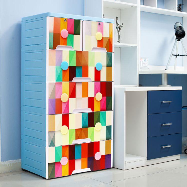 欧式抽屉式收纳柜婴儿宝宝衣柜塑料储物柜自由组装整理柜儿童卡通衣物收纳柜厂家直销