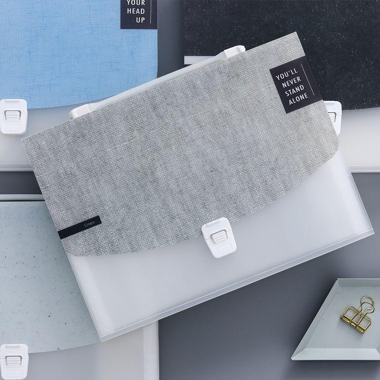 时光荏苒大号风琴包13格多层文件夹学生手提收纳可爱小清新试卷袋