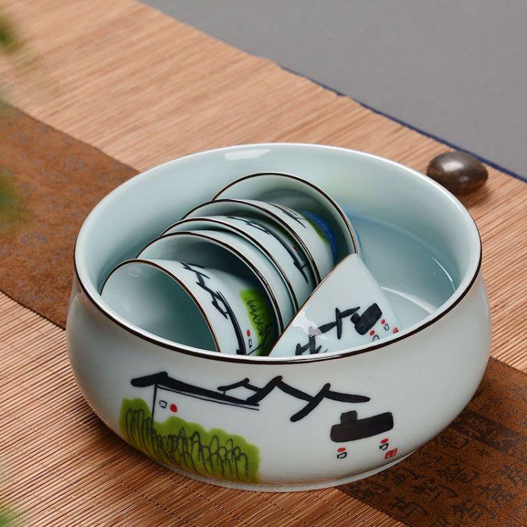 艺颂纯手绘功夫茶具茶道配件陶瓷水洗笔洗小号水培花盆多功能茶洗