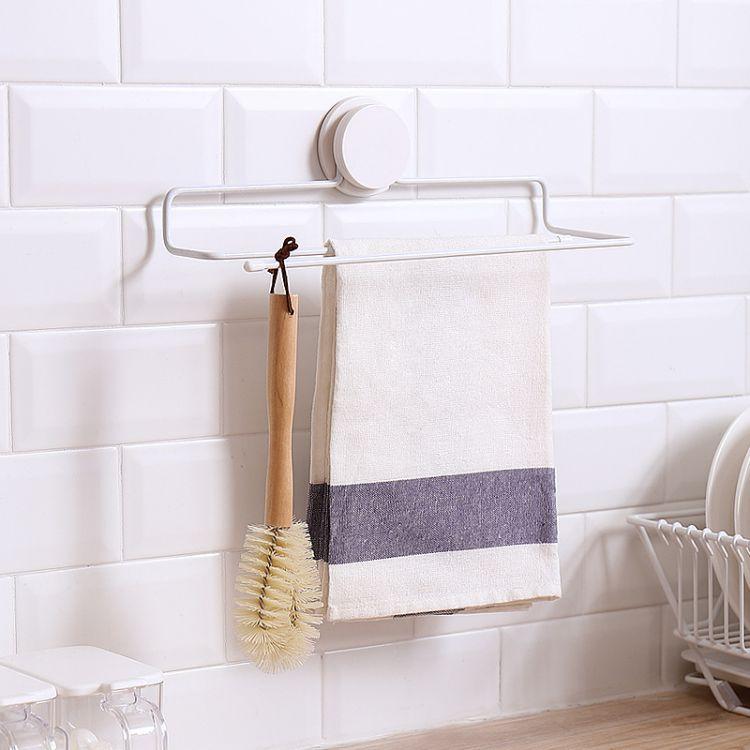 纳川免打孔毛巾架浴室卫生间厨房挂壁抹布架无痕魔力贴双层浴巾架