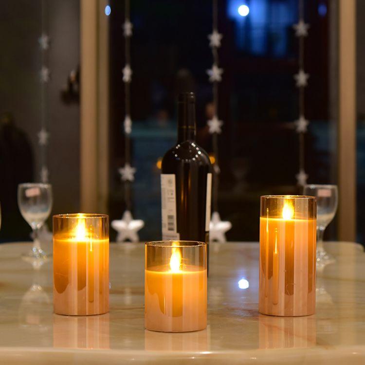 电镀茶色平口玻璃杯蜡烛灯 LED遥控圆柱火焰灯仿真摇摆电子蜡烛灯