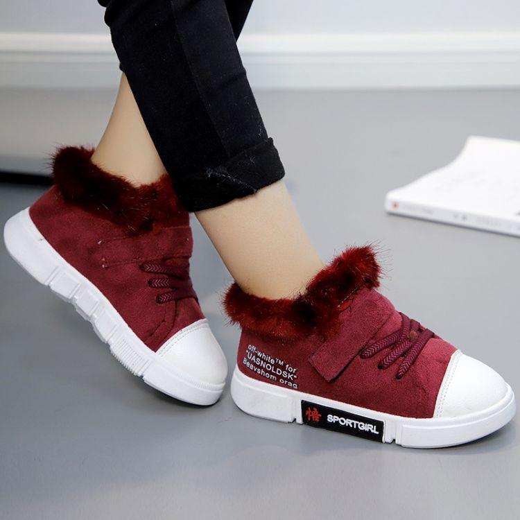 2018女童冬季新款加绒板鞋男童韩版保暖棉鞋儿童高帮运动鞋毛毛鞋
