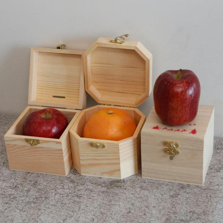平安夜果木质包装盒 圣诞苹果礼品盒批发定做 实木带锁收纳礼品盒