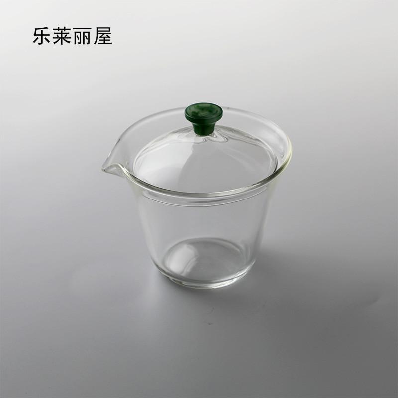【绿珠玻璃盖碗】高硼硅加厚耐热玻璃三才盖碗加厚底设计防烫手盖