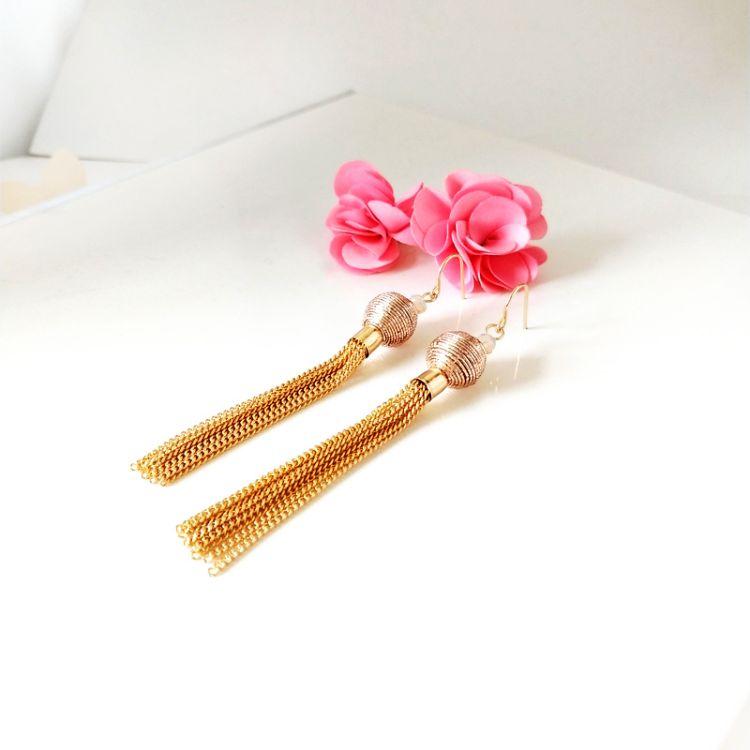 金属质感长款流苏耳钉韩国简约气质女圆珠缠金线个性时装耳环