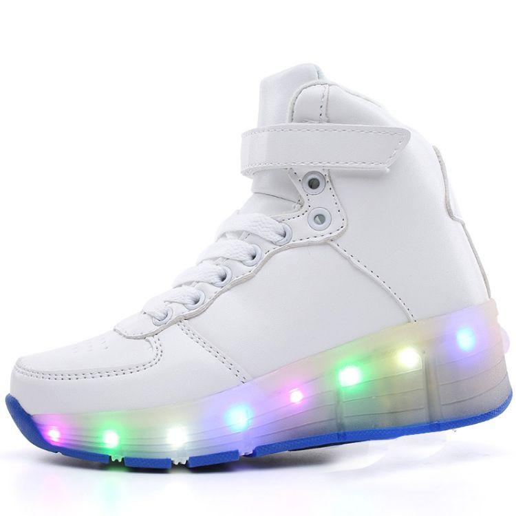 经典高帮纯色单轮暴走鞋 七彩发光搭扣轮滑鞋LED溜冰鞋 一件代发