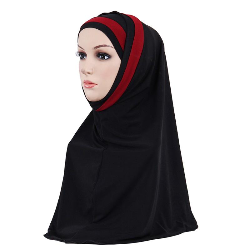 厂家直销欧美前额交叉双色拼接头巾 穆斯林女士时尚贴布盖头现货