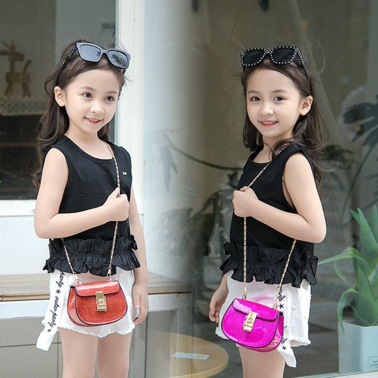 新款儿童包包时尚韩版可爱珠光链条包小女孩迷你斜跨包糖果色小包