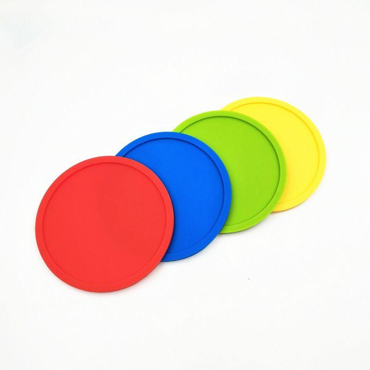 纯色圆形杯垫硅胶防滑杯垫 硅胶耐高温隔热餐垫促销礼品可定制