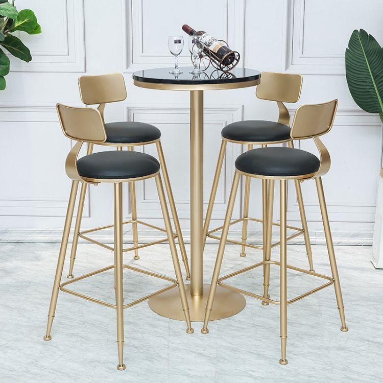 北欧轻奢高脚吧台桌椅咖啡厅休闲桌椅组合小圆桌铁艺金色酒吧台椅