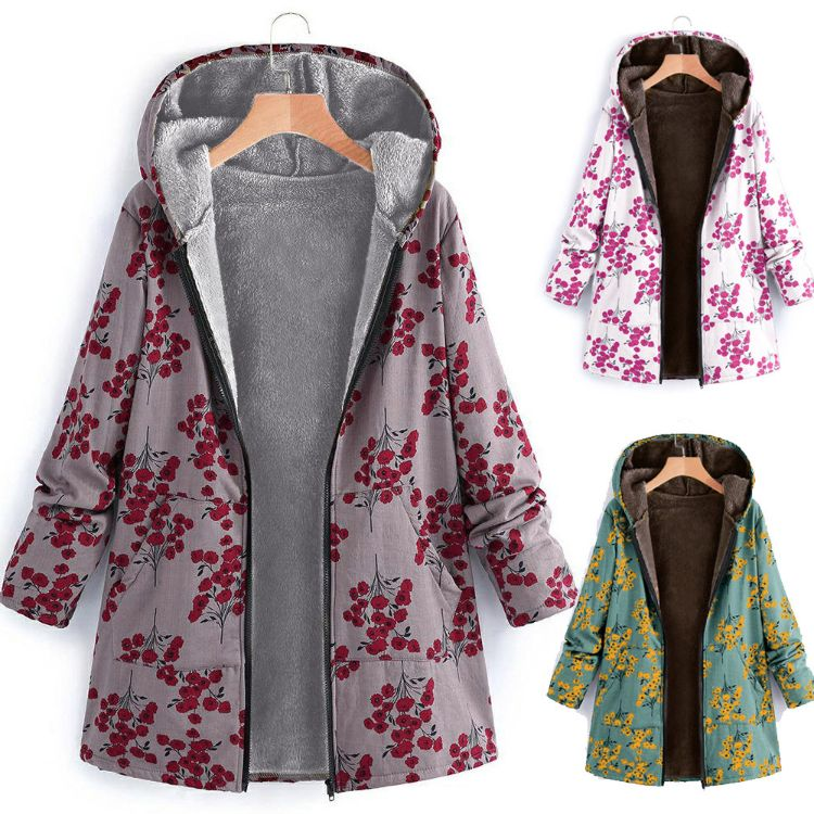 亚马逊ebay速卖通爆款长袖拉链连帽加厚复合印花女士秋冬棉衣外套