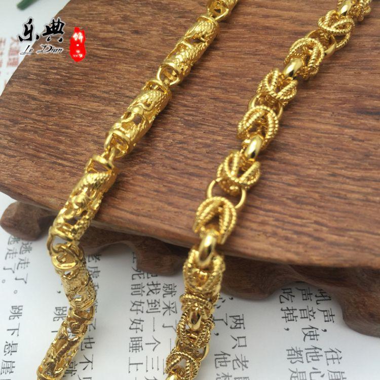 越南金男士龙头手链圆柱龙纹麻花环扣霸气手环链子镀金饰品不褪色