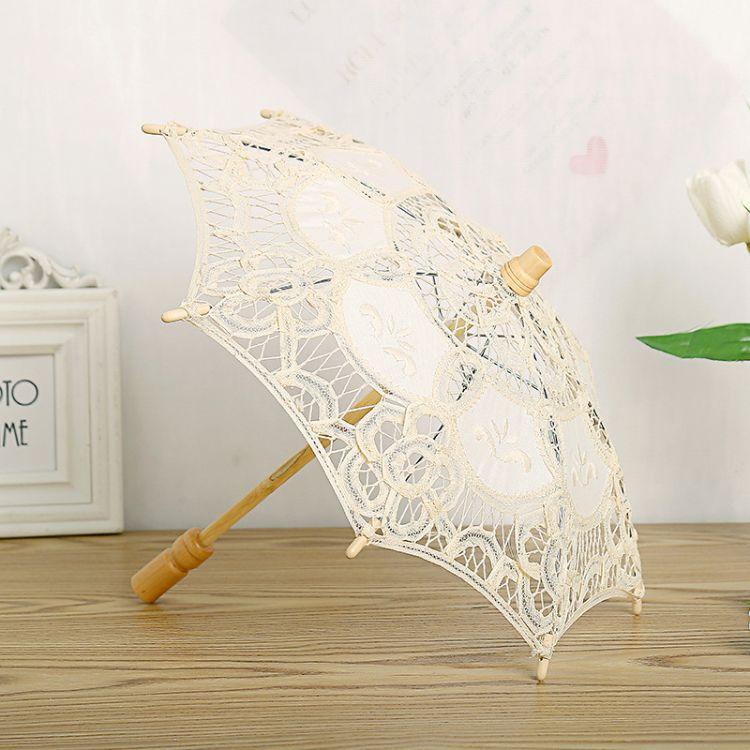现货婚庆蕾丝伞木柄镂空蕾丝花边伞小花伞摄影道具伞婚庆用品批发