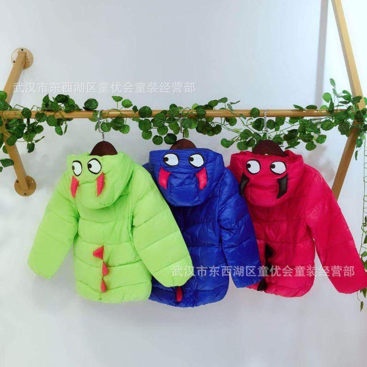 广州品牌童装羽绒服货源批发-19年新款儿童轻薄带帽羽绒服批发