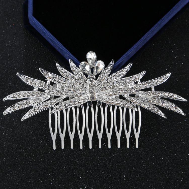 漂亮新娘水滴花朵镀银发梳婚礼外贸水钻合金头饰发叉
