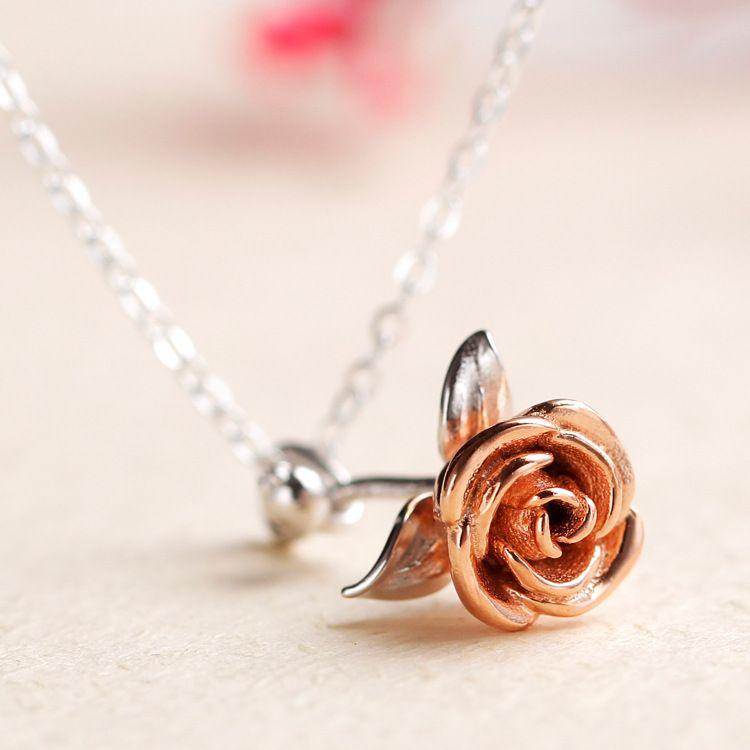 泰时尚 厂家直销 S925纯银玫瑰花项链 时尚潮流锁骨链 情人节礼物