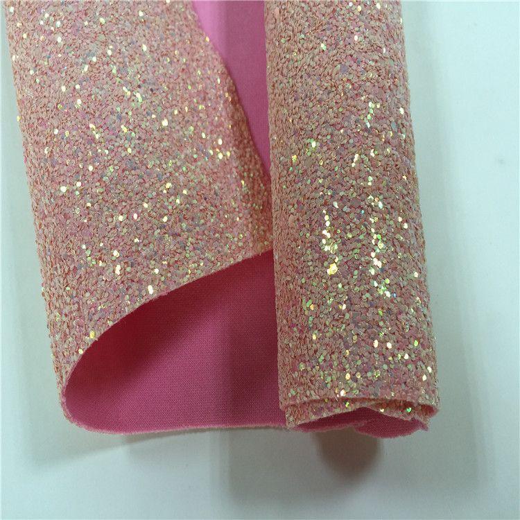 厂家低价促销新款金葱格利特  粉色立体弹力金葱皮革面料