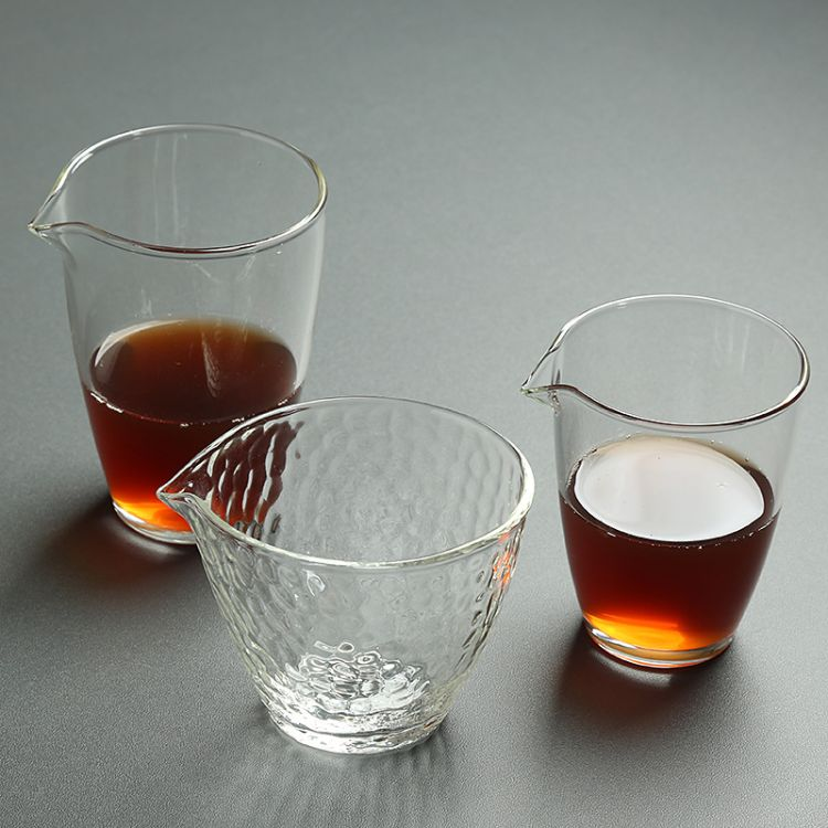 公道杯 玻璃茶海耐热高温高硼硅锤目纹茶道分茶器均杯大号手工