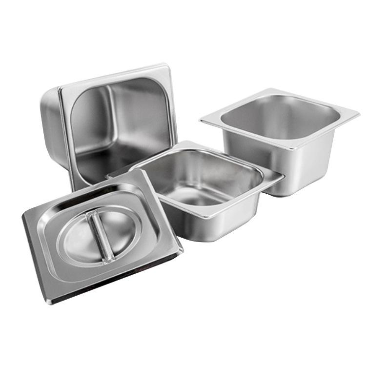 长方形不锈钢盆份数盆带盖分数盒商用奶茶店果酱盒快餐分数盘饭盆