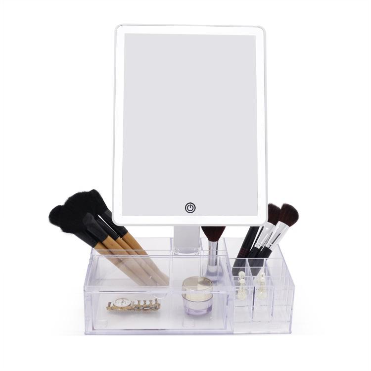超大均匀补光LED台式组合收纳盒化妆镜 360度镜面旋转储物美颜镜