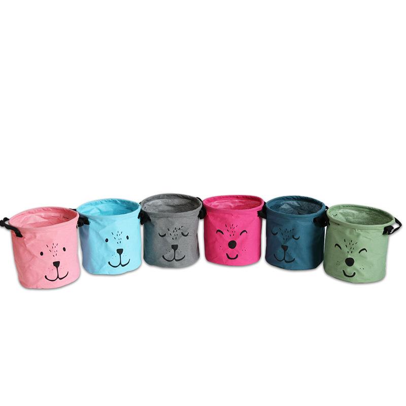 zakka新品预售 圆形表情创意多色小号布艺卡通棉麻杂物收纳桶盒