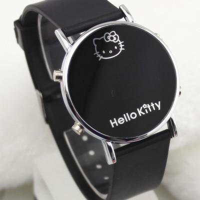 现货批发HEllokitty手表LED圆化妆镜猫头学生硅胶手表 LED手表
