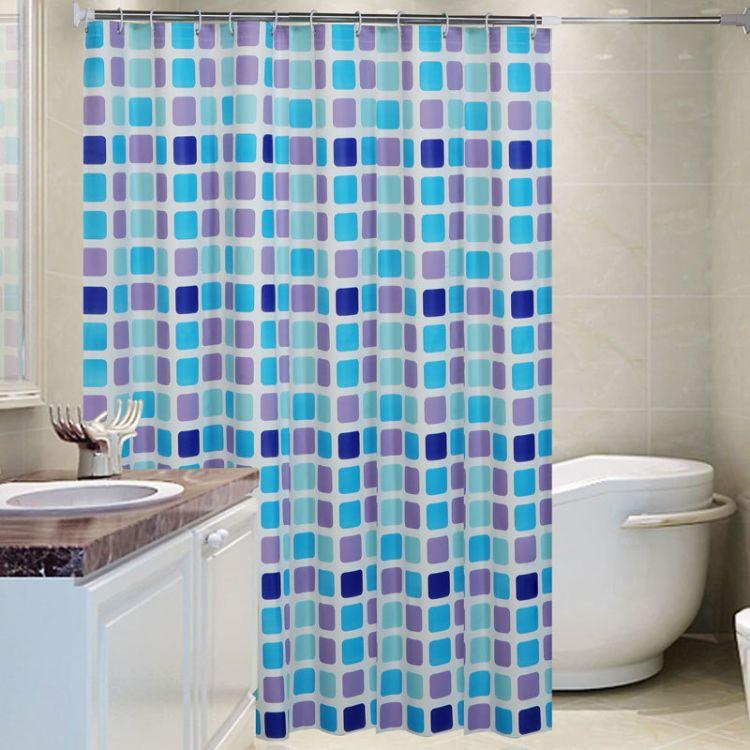 厂家直销peva加厚蓝色方块浴帘防水防霉浴帘布送挂环可定做可混批