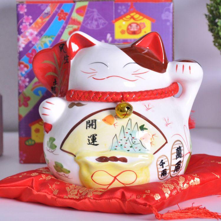 厂家直销新年招财礼品7寸日本招财猫 陶瓷存钱罐店面摆饰创意礼品