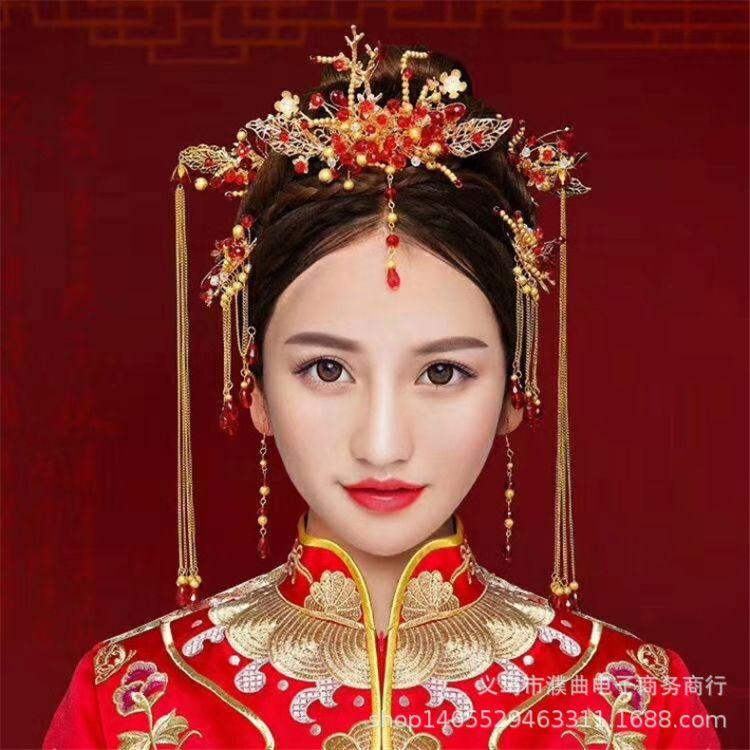 中式新娘配饰品秀禾服龙凤褂汉服发饰套装古装结婚礼头饰厂家直销