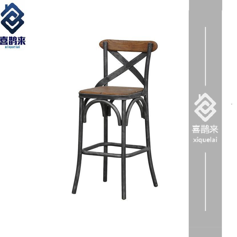 美式loft复古铁艺吧台椅创意高脚椅吧凳工业风椅咖啡厅酒吧椅包邮