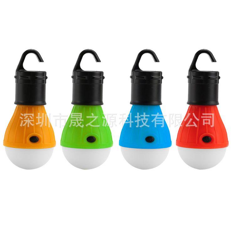 户外摆摊灯野营挂钩灯应急营地灯LED帐篷灯泡使用3节7号电池