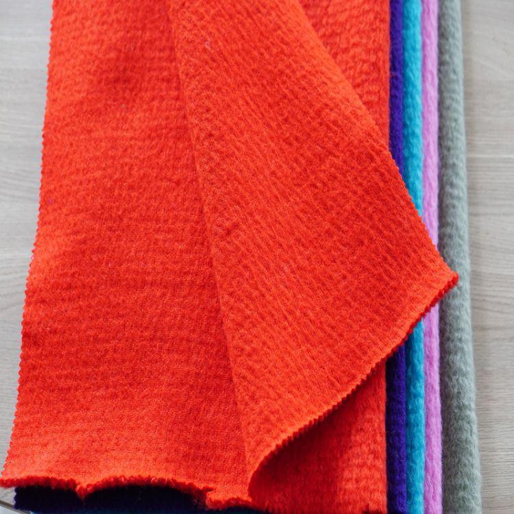 秋冬时尚素色粗纺水波纹毛呢面料厂家定制顺毛羊绒大衣布料