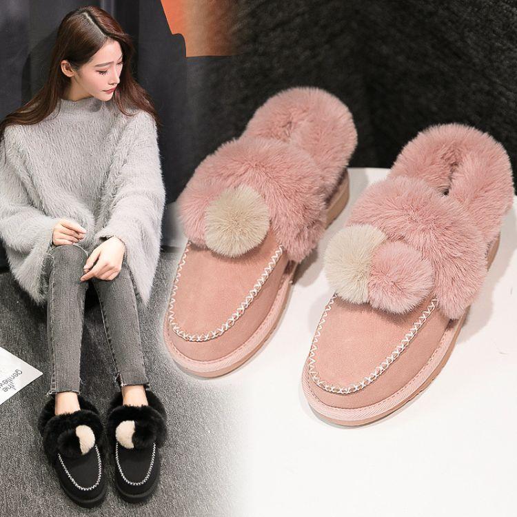 2018冬季新款毛球雪地靴女学生平底短靴加绒豆豆鞋毛毛鞋冬棉鞋女