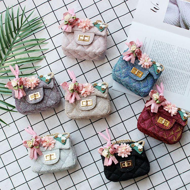韩版新款儿童包包斜挎包水晶布花朵兔子唯美公主