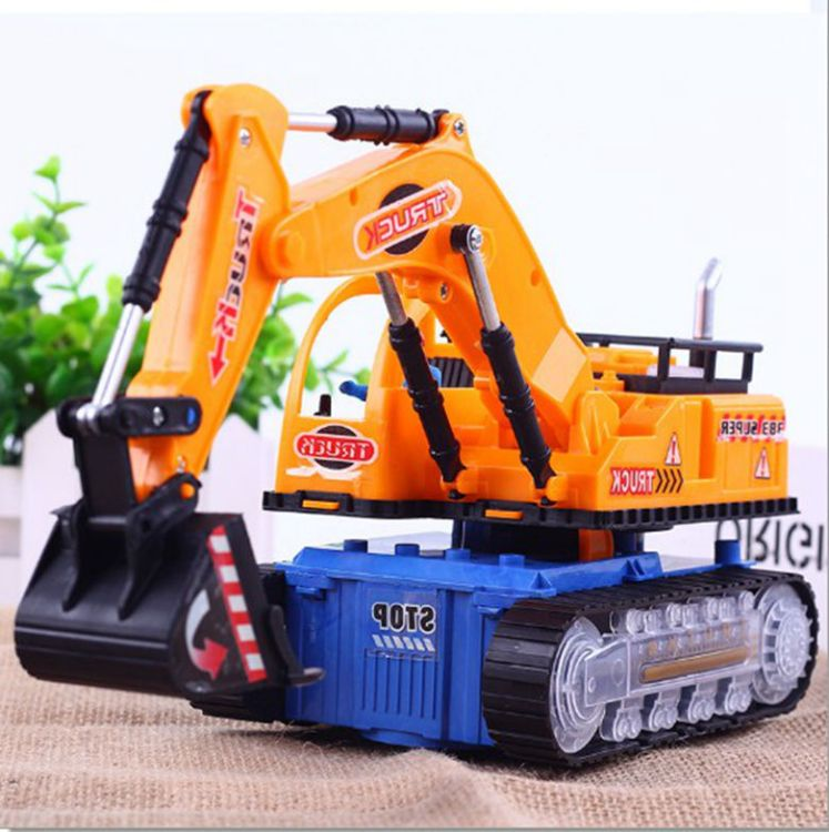 单个包邮创意电动音乐发光万向挖土机工程车儿童玩具礼物货源批发