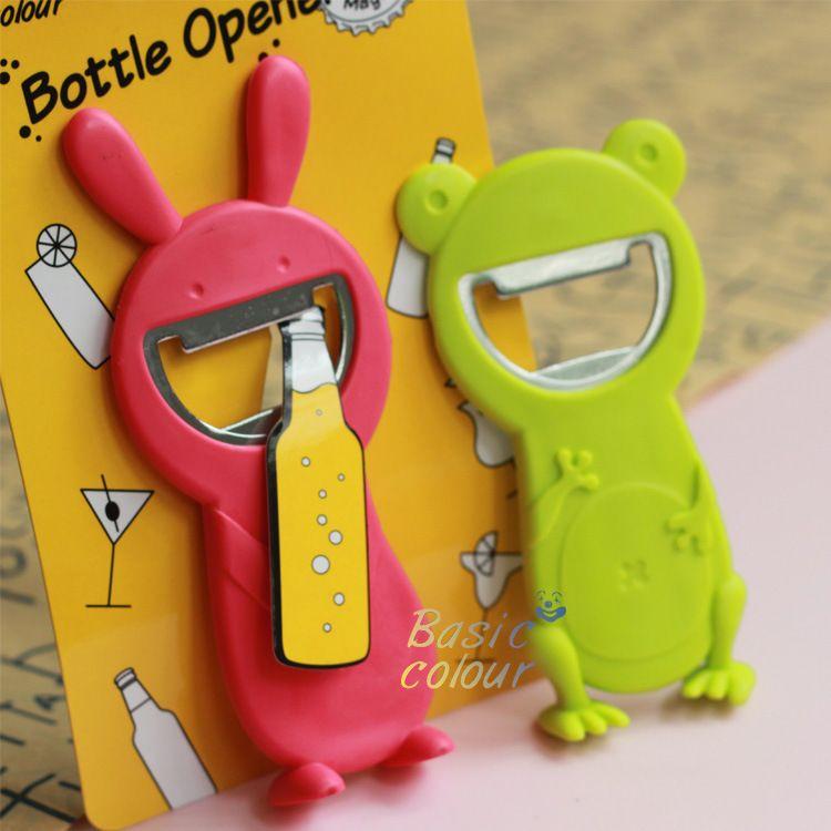 热销现货批发创意礼品磁铁不锈钢塑料萌兔开瓶器萌蛙开瓶器