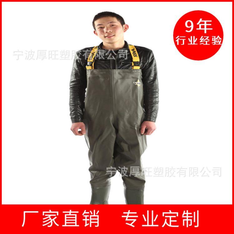 厂家直销外贸新款尼龙pvc枫叶迷彩半身连体下水裤涉水裤叉裤