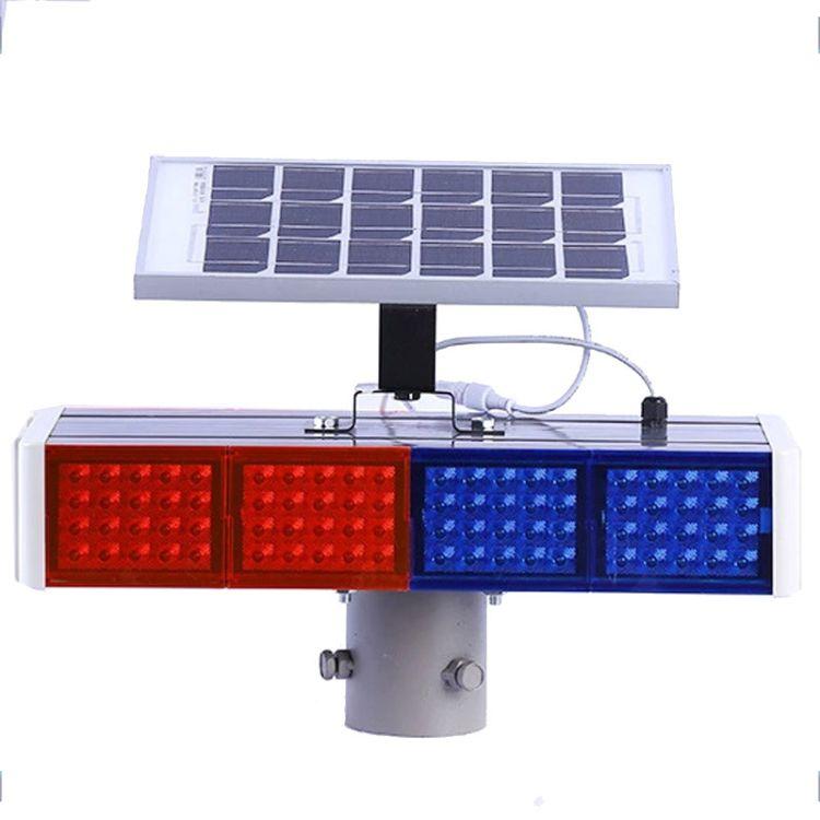 太阳能灯太阳能爆闪灯四灯双面警示灯信号频闪灯道路LED爆闪灯