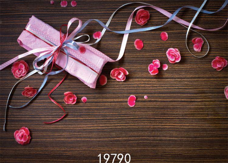 情人节鲜花礼物盒木板拍摄背景影楼摄影背景布乙烯基写真布