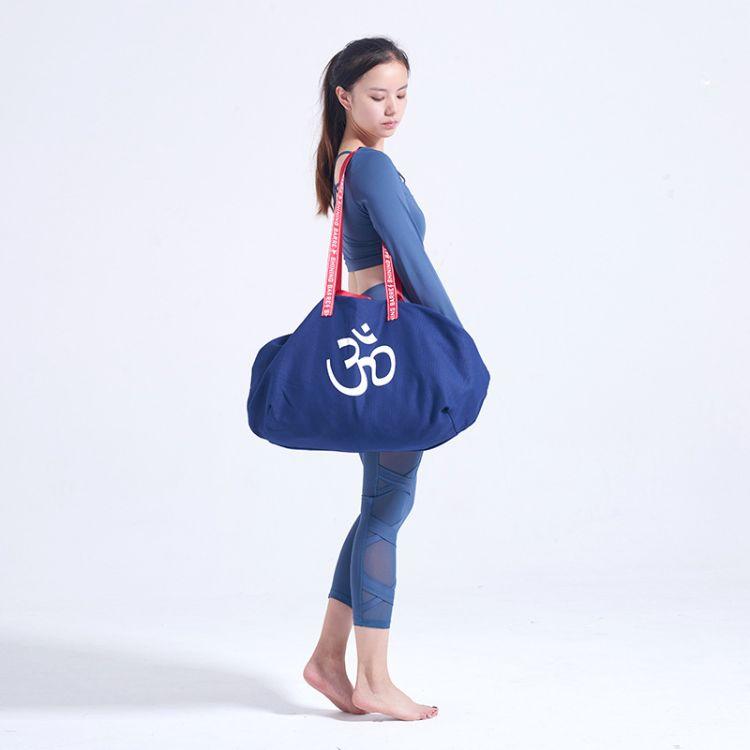 一件代发OM瑜伽包大容量瑜伽袋帆布双层耐磨时尚单肩包双肩包