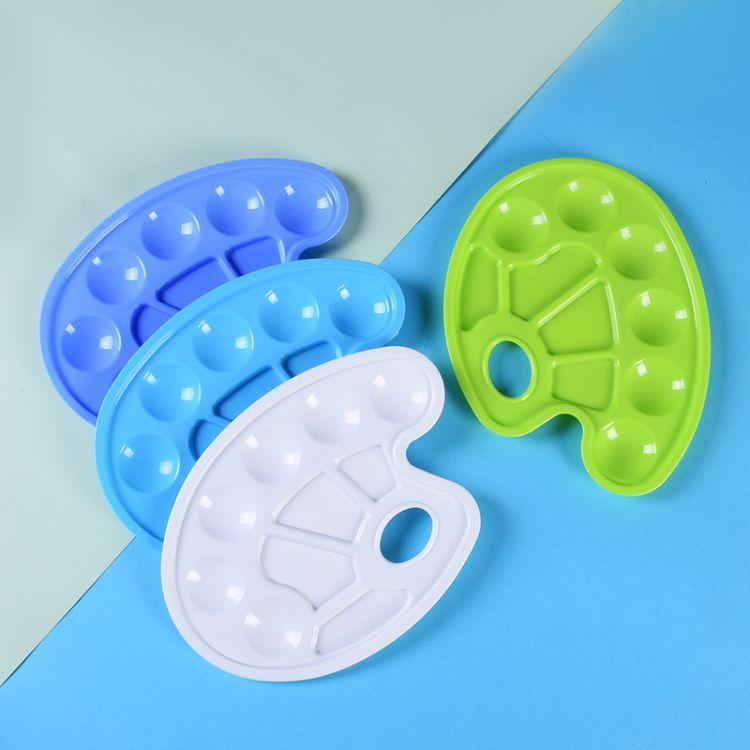厂家定制厚薄款六眼鱼形颜料调色盘 创意塑料水彩美术颜色盘批发