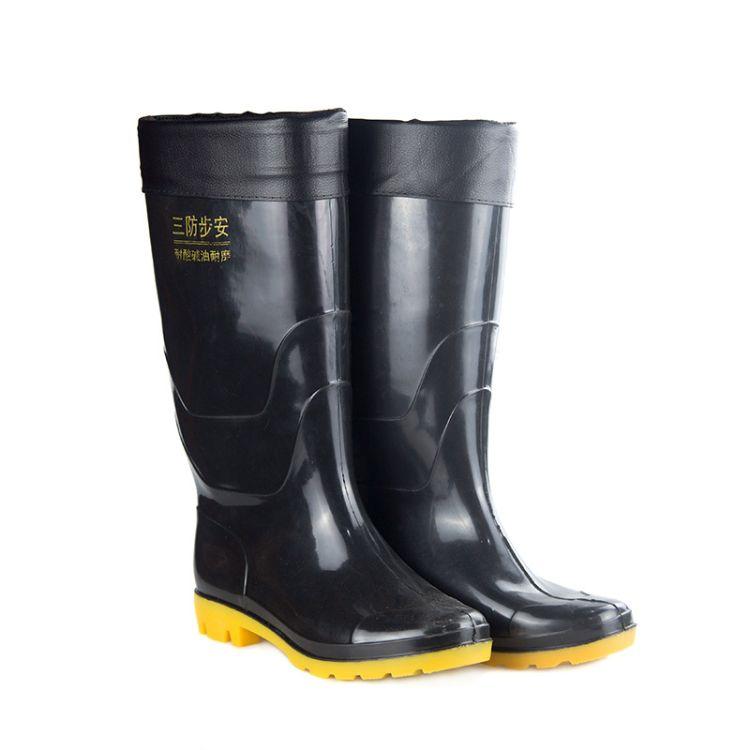 厂家大量批发工地专用水鞋加棉加绒男士高筒雨鞋防滑耐磨量大价优