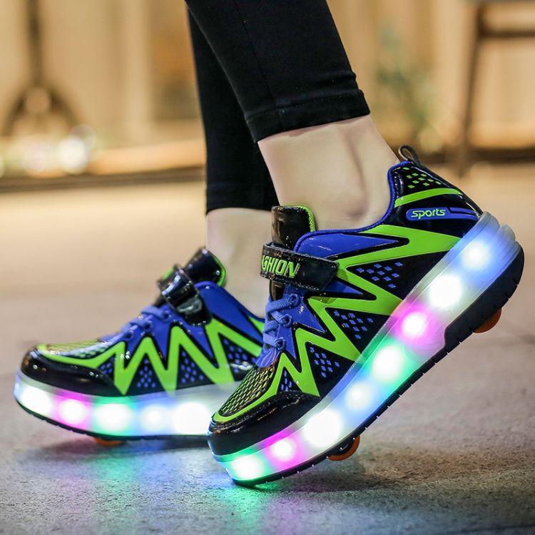 暴走鞋发光鞋男女儿童自动款轮滑鞋青少年隐形带轮子的鞋单双轮鞋