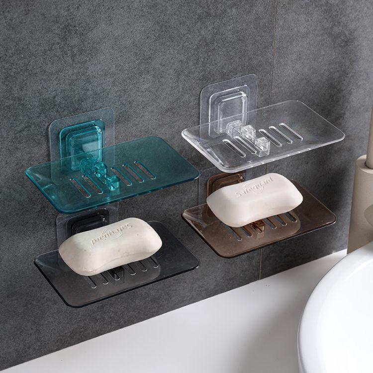壁挂式沥水皂盒魔力无痕贴免钉水晶香皂盘浴室肥皂收纳架手工皂托