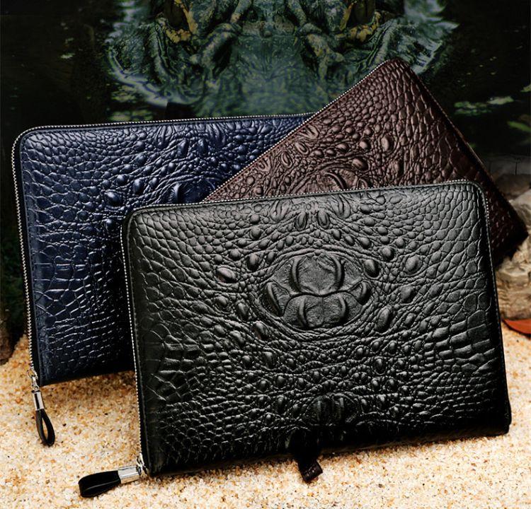 2018新款男士商务手拿包PU鳄鱼纹大手包夹包一件代发